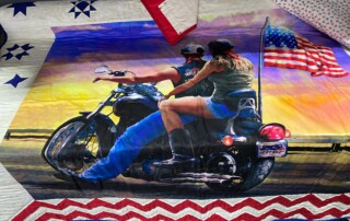 Motorcycle Theme American flag Quilt